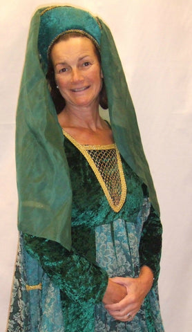 Medieval Dress ~ Green and Gold ~ 9 ~  Hire ~ Size 12