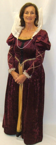 Medieval / Elizabethan Gown ~ Hire ~ Burgundy with Collar ~ Size 10 - 12 and size 14