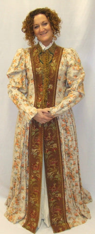 Medieval / Elizabethan Gown ~ Hire ~ 67 ~ Orange floral  ~ Size 10