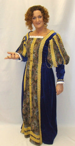 Medieval Gown  ~ Tudor ~ Wolf Hall ~ Royal Blue and Gold ~ Hire ~ Size 12