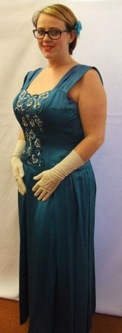 1940's / 1950's Vintage Dress ~ Peacock Blue evening dress ~ Size 14 - 16 ~ Hire