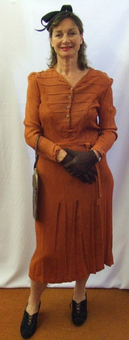 Rust ~1930s / 1940s Dress ~  Vintage day wear ~  Hire ~ Size 14