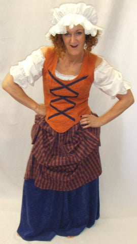 Medieval Wench  ~ Orange and Navy Blue ~ size 12 ~  Hire