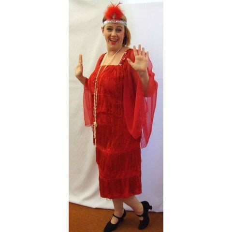 1920s Flapper Dress  ~ Red  Fringed ~ Hire ~ Sizes 18