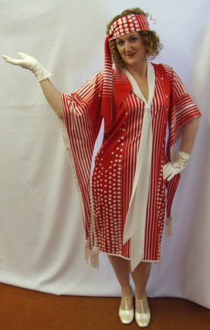 1920's Red and White Day Dress ~ Size 12 ~ Gatsby ~ Bugsy