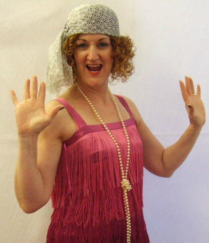 1920s Flapper Dress ~ Hire ~ Pink  Fringed ~ Size10
