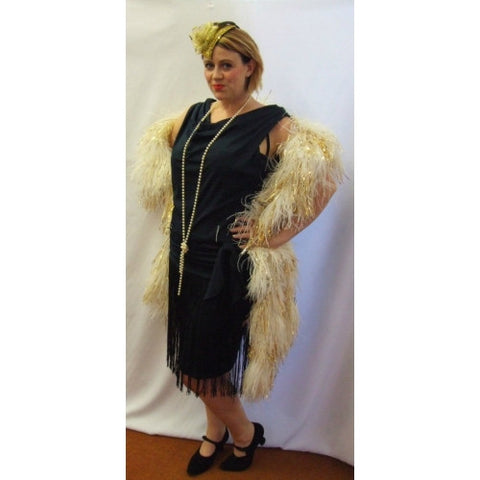 1920s Black drop waist Flapper dress ~ Evening ~ Gatsby ~ Bugsy ~ Size 16-18 ~ Hire
