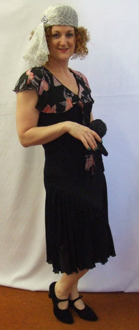 1920's Black and Pink Flapper Dress Hire ~ Size 10 -12 ~ 30's ~ 40's