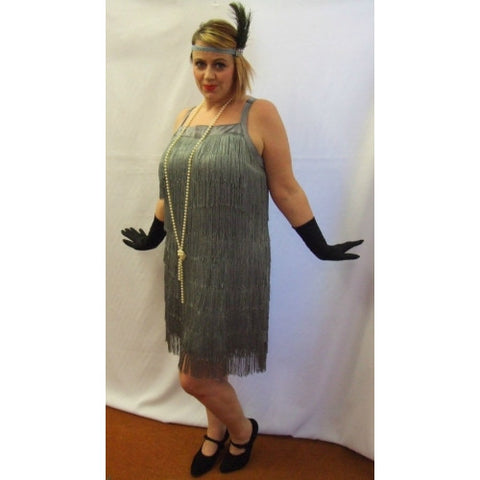 1920s Flapper Dress  ~ Grey Fringed ~ Hire ~ Sizes 18