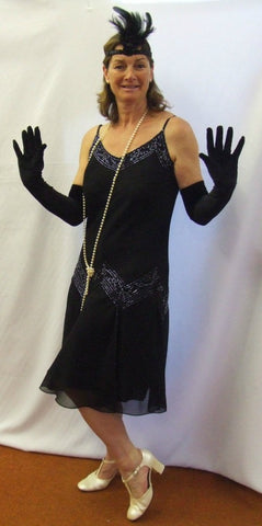 1920s Flapper Dress  ~ Black Beaded~ Hire ~ Sizes 12 ~ Bugsy ~ Gatsby