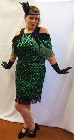 Emerald Envy ~ 1920s style flapper dress ~ Evening ~ Gatsby ~ Bugsy ~ Size 16-18 ~ Hire
