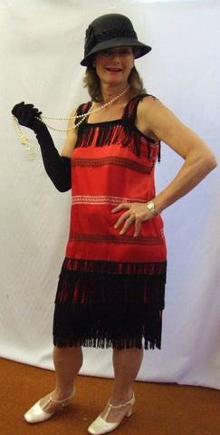 1920s Flapper Dress  ~ Red and Black ~ Gatsby ~ Bugsy ~Hire ~ Sizes 14