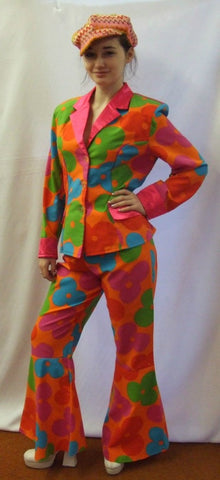 1970's Hippy Costume ~ Flower Suit ~ Hire ~ size 12
