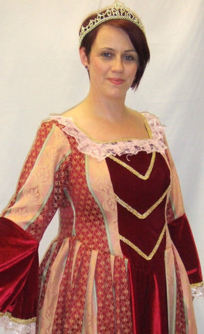 Claret Elizabethan Gown  ~ Medieval ~ Hire ~ size 14 ~ 16 ~ Wolf Hall