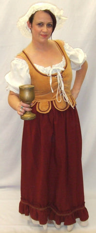 Medieval Wench ~ Red and Cream  ~ size 14 ~ 16  Hire ~ Henry