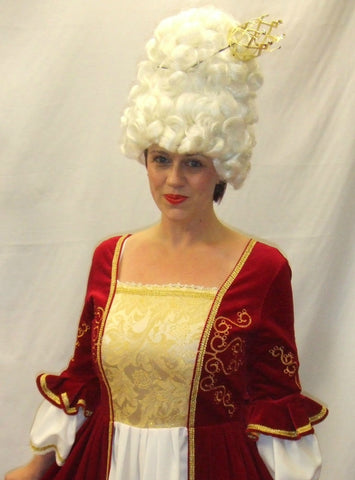 18th Century  Gown ~ Marie Antoinette  ~   ~ Size 14 - 16 ~ Pompadour ~ Red Cream and Gold