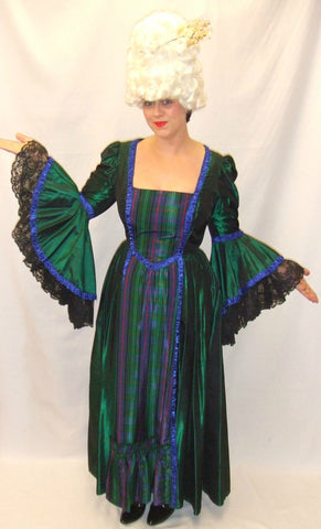 18th Century Dress  ~ Green and Tartan ~ Hire ~ Size 14 ~ Georgian ~ Pompadour