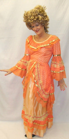 18th Century Ball gown / Pantomime ~ Orange & Gold ~ Masquerade  ~ Hire ~ Size 10 ~ Georgian