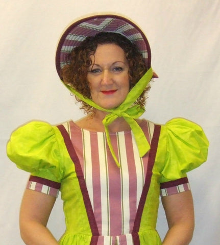 18th Century / Victorian Dress / Pantomime ~ Lime & Burgundy ~ Masquerade  ~ Hire ~ Size 10 ~ Georgian