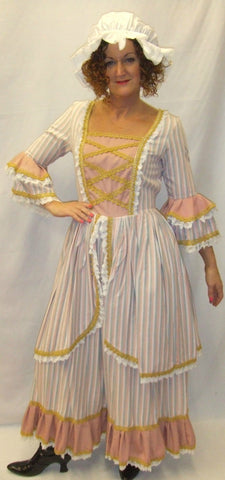 18th Century  Gown ~ Milk Maid  ~ Candy stripe  ~ Size 12 and 14 ~ Pompadour