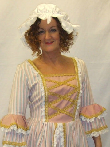 18th Century  Gown ~ Milk Maid  ~ Candy stripe  ~ Size 12 ~ Pompadour