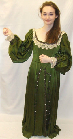 Medieval Costume 15  ~ Fancy Dress  ~  Green and cream  ~ Hire ~ Size 8