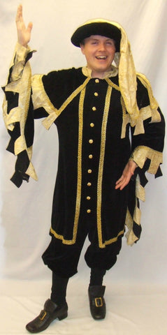 Medieval Man  ~ Courtier ~ Black and gold ~ Hire ~ 42