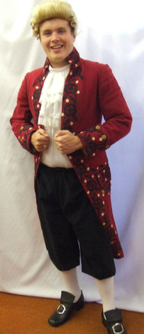 18th Century Wine Embroidered Frockcoat ~ Pirate ~ Hook  ~ Prince ~ Hire ~ 36