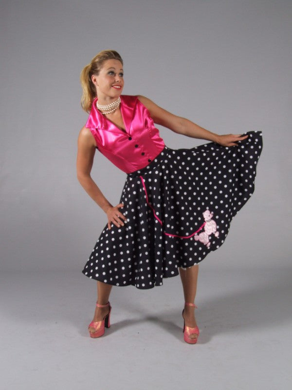 17d317d13bbf Rock N Roll Dress ~ Pink Poodle 1950's fancy dress ~ Hire ~ Size 10 - 12.  Cerise pink satin blouse with attached black and white polka dot skirt ...