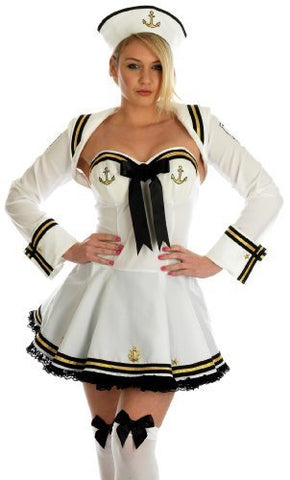 Flirty Sailor Girl Fancy Dress  Nautical uniform  Size XS 8 - 10