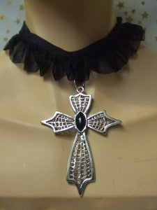 Gothic Web Choker ~ Cross  Necklace ~ Halloween
