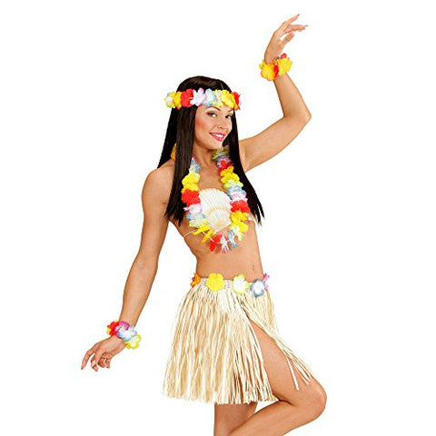 Natural Grass Skirt set  Hawaiian  Adult size 40 cm Lei bracelets and headdress