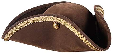 Brown Suedette Tricorn Hat with gold trim Pantomime 18th century Dandy one size
