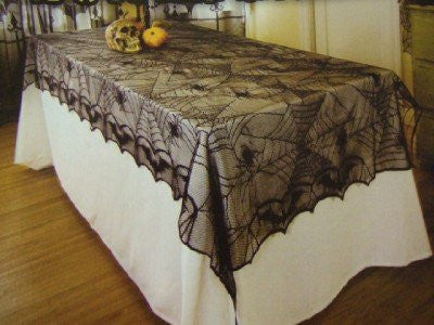 Spider Web Gothic Lace Tablecloth ~ Halloween Decorations ~ 48