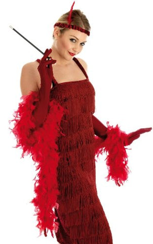 Red Flapper Dress 1920 s Gangster Moll 20's Charleston Size L 16 - 18