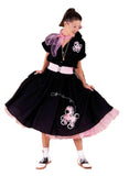 1950s Rock n Roll black Poodle  Dress ~ Hire ~ Size 18