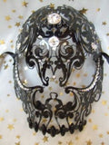 Black Metal Venetian Mask ~ Skull Design ~ Diamante Canterbury fancy dress