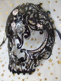 Black Metal Diamante Venetian Mask ~ Skull Design ~ Day of the dead ~ Masquerade ball