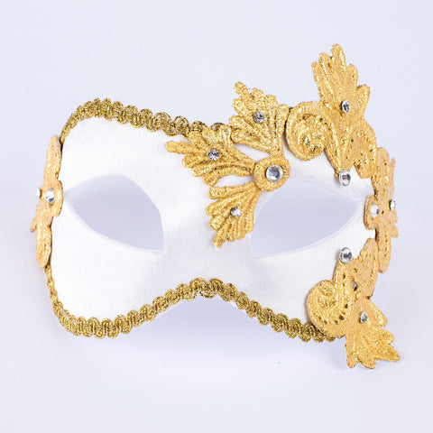 Venetian Mask ~ Masquerade Ball ~ White Satin and Gold Macrame Lace 121MPGBC