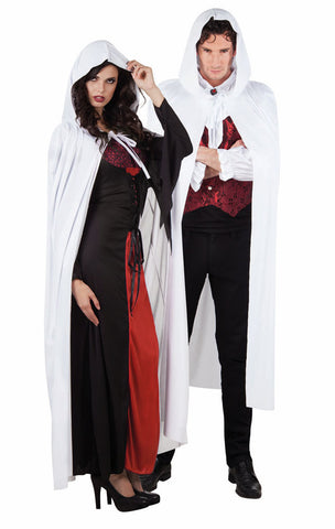 White Hooded Cape Halloween 172cm long Dracula Vampire Witch GOT LOTR
