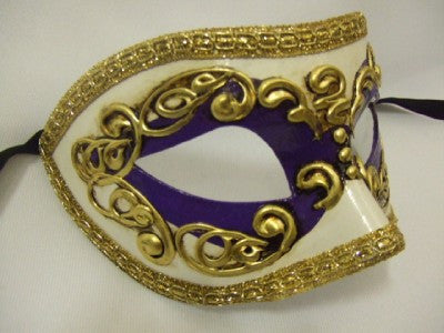 121/5VT ~ Purple and Gold Venetian Mask ~ Masquerade ball ~ 18th century