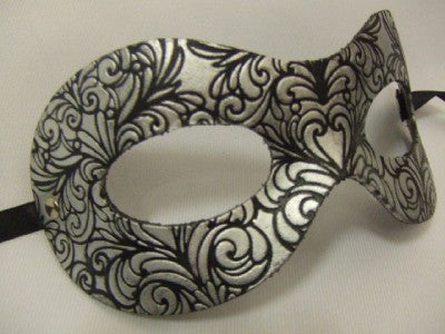 Leather Venetian Mask ~ Black and Silver #3901