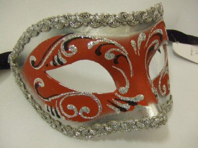 121DESRS ~ Red and Silver Venetian Mask ~ Masquerade ball ~ 18th century