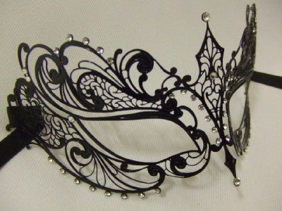 Black Metal Venetian Mask ~ Diamante  ~ #863S ~ Masquerade ball ~ 18th century