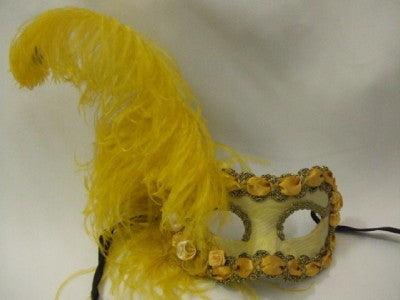 Gold Brocade Venetian with feathers