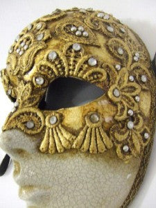 #610 ~ Gold Macrame Full Face Venetian Mask Masquerade Ball 18th century
