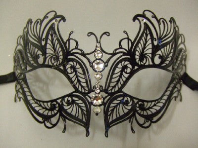 863YW Black Metal cut out Venetian Mask with diamante ~ Butterfly shape ~ Masquerade ball