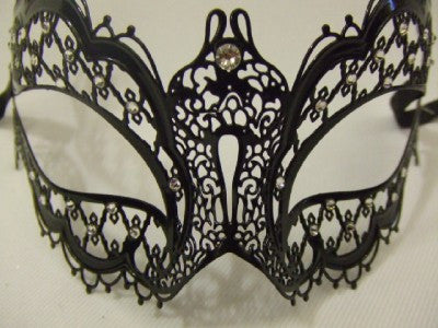Black Metal Venetian Mask ~ Diamante ~ #863G ~ 18th century masquerade ball