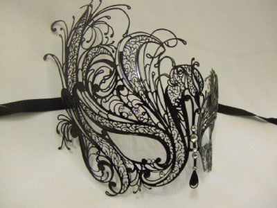 863YX Black Metal and Diamante Venetian Mask ~ Masquerade ball ~ 18th century