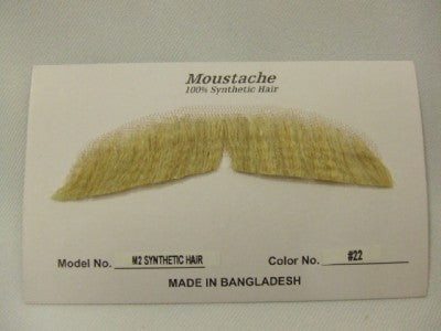 Hand Made Moustache ~ M2 - 22 ~ Blonde ~ Human hair